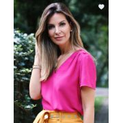 Blusa Amora Crepe Botões Ombro Cores Pink ,Verde