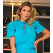 Blusa Unique Viscose Detalhe Pregas Babados