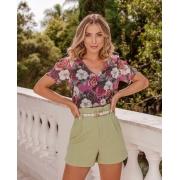 Blusa Anne Crepe  Floral com Botões + Regata