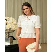 Blusa Ariane Com Elastico na Cintura Detalhe em Renda Zimmer + Regata