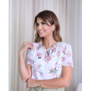 Blusa Ariane Floral C/ Detalhe Renda