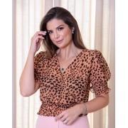 Blusa Ariane Crepe +  Top Cropped Animal