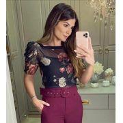 Blusa Ariane Tule Floral + Regata