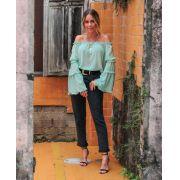 Blusa Bata Esmeral Silk Crepe Cores Verde e Preto