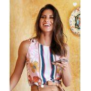 Blusa Bianca Crepe Print Flowers