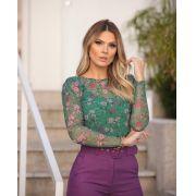 Blusa Carol Tule Floral 4,50% Elastano + Regata