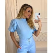 Blusa Carolina Crepe Detalhe Lastex
