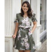Blusa Carolina Crepe floral laço manga