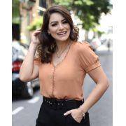 Blusa Caroline Crepe Detalhe Renda Cores Vermelha e Telha