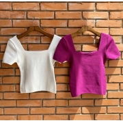 Blusa Cheroy Tricot Modal  3% Elastano Decote Quadrado