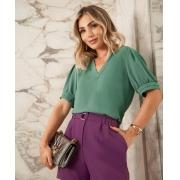 Blusa Cintia Crepe Decote V Detalhe Pregas Ombro