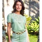 Blusa Claudia Crepe Bordado Floral