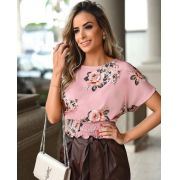 Blusa Cristina Crepe Floral Com Punho barra