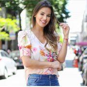 Blusa Cristina Crepe Floral Manga Bufante