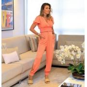 Blusa Camila Cropped Detalhe Transpasse Lastex