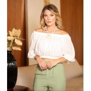 Blusa Debora  Chantily  Crepe  + Top Renda