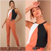 Blusa Denise Crepe Color Cores Rose e Mostarda