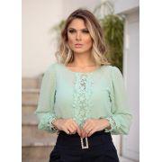 Blusa Dorote Crepe Detalhe Renda +Regata