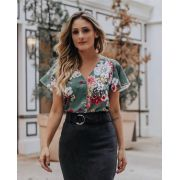 Blusa Eliete Crepe Floral Botões Forrados Cores Rose e Verde