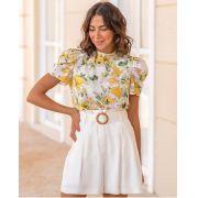 Blusa Fabrícia Crepe Floral  MG Princesa