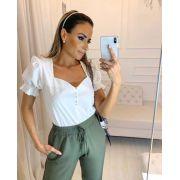 Blusa Fernanda Decote Princesa Botões