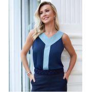 Blusa Helen Crepe Bicolor  Cores Azul Marinho e Verde Militar