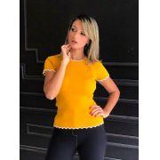 Blusa Julia  Tricot Bicolor Canelada Golinha Tricot Cores Mostarda, Fucsia, Preto, Off
