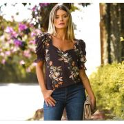 Blusa Juliana Crepe Floral Mg Bufante