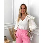 Blusa Juliana Malha Mini Poa Com Detalhe Entremeio