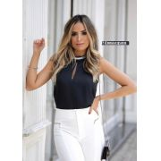 Blusa Karen Crepe Brilho no Decote