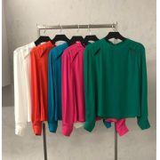 Blusa La Chocole Crepe Abertura Ombro Cores Off, Pink, Verde