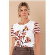 Blusa Lea Crepe Flowers Stripe