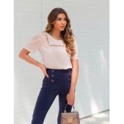 Blusa Leticia Crepe Renda Decote Quadarado