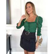 Blusa Luciana Crepe Decote Princesa Com Lastex na  MG