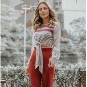 BLUSA LUIZA CROPPED CREPE LISTRAS