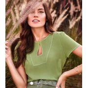 Blusa Camila Crepe Pesponto Cores Verde e Marinho