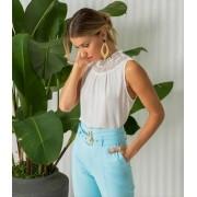 Blusa Mariana Crepe Renda Decote