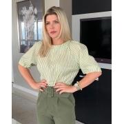 Blusa Marisa Listras Tricoline 3% Elastano Manga 3/4 Bufante
