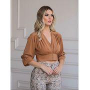 Blusa Melissa  Crepe Cropped CaraMelo com Botões