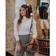 Blusa Morina Tricot Modal Com Botões Cores Areia, Rose e Preto