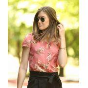 Blusa Nadia Crepe Floral Cores Rose e Mostarda
