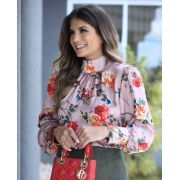 Blusa Nicole Crepe Floral Rose