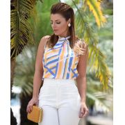 Blusa Sabrina Crepe Print Abstract Gola