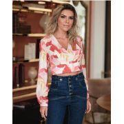 Blusa Samara Crepe Floral Amarração Frente