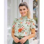 Blusa Sara Crepe Floral lastex