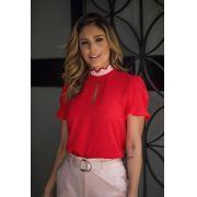 Blusa Silvia Crepe Detalhe Onda Bicolor  Vermelha