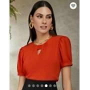 Blusa Soraia  Crepe  Elástico no Decote