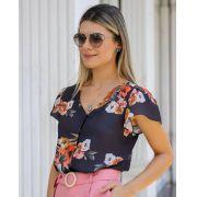 Blusa Tamira Crepe Floral Botões Forrados