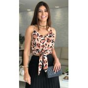 Blusa Tamira Cropped Crepe Animal Print