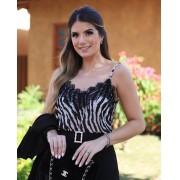 Regata Ariane Crepe Zebra Com Renda